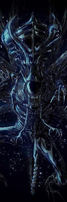 Alien Queen by Peter Gutierrez #Alien #Aliens #Alien3 #Xenomorph #Xeno #AvP #AvP2 #AlienQueen #XenomorphQueen Alien Vs Predator, Predator Movie, Predator Art, Predator Series, Alien Film, Art Alien, Giger Art, Hr Giger, Xenomorph