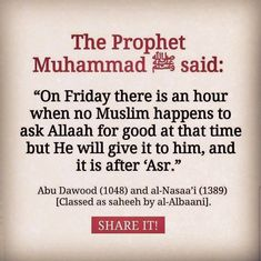 Friday - after asar islam rules ислам Prophet Muhammad Quotes, Hadith Quotes, Allah Quotes, Muslim Quotes, Religious Quotes, Islam Hadith, Alhamdulillah, Islam Muslim, Islam Quran