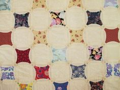 Signed-Dated-1994-Vintage-Cotton-Hand-Sewn-QUILT-Rob-Peter-to-Pay-Paul-Yo-Yo