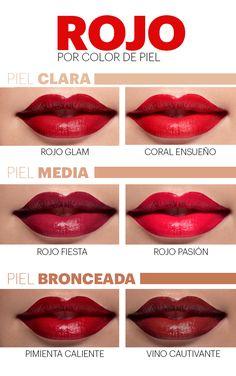 red lipstick according to skin color - Make Up - Accesorios para Maquillaje Eyebrow Makeup Tips, Basic Makeup, Beauty Makeup Tips, Makeup Dupes, Makeup Videos, Makeup Art, Makeup Cosmetics, Eye Makeup, Eye Trends