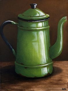 Kettle - Green x by Katie - Sold Still Life Drawing, Painting Still Life, Still Life Art, Tole Painting, Painting & Drawing, Painting Abstract, Acrylic Paintings, Afrique Art, Object Drawing