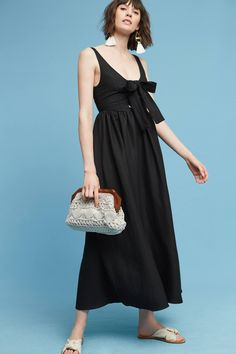 Slide View: 2: Myriam Linen Midi Dress