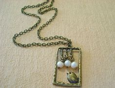 Fresh water pearls and brass necklace ($18, RhondasTreasures, Etsy)