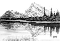 landscape mountain drawing reflections drawings kelli swan pencil landscapes easy sketch lake google fineartamerica wood prints medium mountains cool nature