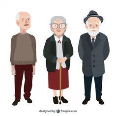 Pack de simpáticos abuelitos Vector Gratis