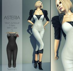 7391756395 Second Life Marketplace - Asteria Creations - Sermin Mesh Jumpsuit - Collar  - Black Virtual Games