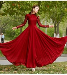 New 2016 Spring Autumn Elegant Vintage Lace Chiffon Long Dress Slim Long Sleeve Red Party Maxi Dresses Vestidos D036