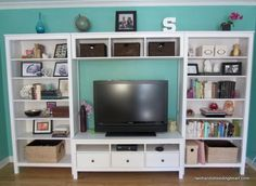 Yesterday I did a spring/summer facelift to our entertainment center ...