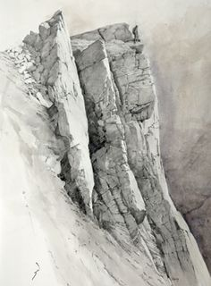Craig yr Ysfa, an original drawing by Rob Piercy