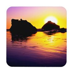 Peace Hard Plastic Coasters with cork back. Stack of 6. #coasters #sunset #beach