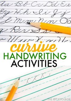 Ideas for cursive handwriting problems and activities to help. Ideas for cursive handwriting problems and activities to help. Improve Handwriting, Cursive Handwriting, Handwriting Practice, Penmanship, Caligraphy, Handwriting Ideas, Handwriting Activities, Hands On Activities, Learning Activities