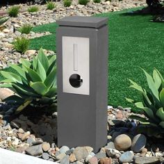 Milkcan-Letterbox-Concrete-Madrid-Grey-with-Stainless-Steel-Front-Pillar-Mailbox