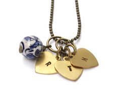 Long brass necklace with three hand stamped initial hearts. Brass Necklace, Washer Necklace, Personalized Jewelry, Hand Stamped, Messing, Hearts, Necklaces, Shop, Personalised Jewellery