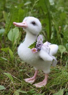 Needle felted white duckling by Artist K. Kolodnytska