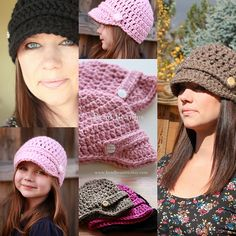Ravelry: Brimmed Button Beanie womens and childrens sizes EASY FAST pattern by Bend Beanies - Rachel