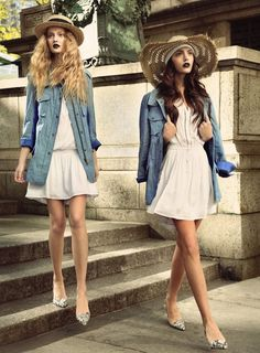Straw hat, denim button up, and white summer dress= simple and sweet outfit