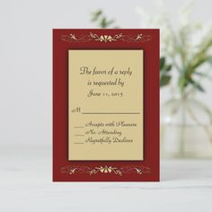 Shop Marcella and Gold RSVP created by fancyhouse. Wedding Rsvp, Elegant Wedding Invitations, Fancy Houses, Burgundy And Gold, Response Cards, Place Card Holders, Backyard, Shop, Luxury Houses