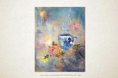 My Favorite Blue Cup 11x14 Original Acrylic by TerraArtGallery,