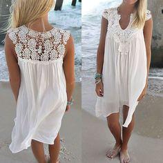 b33e4da124c Women Summer Loose Short Sleeve Beach Mini Dress Casual Loose Sundress Plus  Size  Unbranded