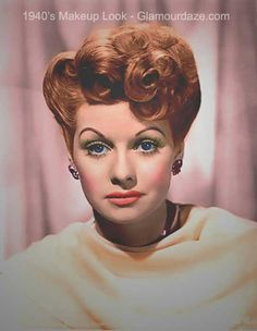 Hairstyles Step By Step Lucille Ball Gorgeous!Hairstyles Step By Step Lucille Ball Gorgeous! 1940s Makeup, Vintage Makeup, Vintage Beauty, Vintage Style, Lucille Ball, Divas, 1940s Looks, 1940s Hairstyles, Gorgeous Hairstyles
