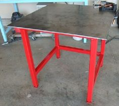 Simple Welding table with excellent step by step at http://www.angelfire.com/80s/sixmhz/weldingtable.html