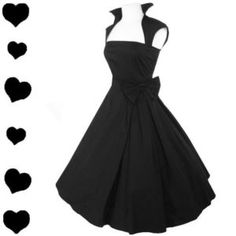 New Black Rockabilly 50s FULL SKIRT Swing Dress M PARTY Pinup