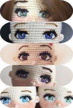 61 Ideas Crochet Amigurumi Doll Eyes For 2020 Crochet Eyes, Cute Crochet, Crochet Crafts, Crochet Baby, Crochet Projects, Knit Crochet, Crochet Dolls Free Patterns, Crochet Doll Pattern, Amigurumi Patterns