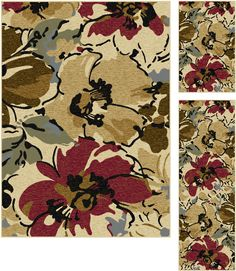 Add a natural element to your style with this three piece rug set. These rugs feature an upbeat floral pattern in rich hues of red, brown, blue and green placed on an inviting beige field. They offers a cheery addition to your home, and will fit in with any setting. The 100% polypropylene construction lends durability and versatility to this set. This design is available in two individual sizes and as a three piece set so you can unify your look throughout your home.