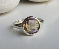 Ametrine Ring Amethyst Ring Citrine Ring Bi Color Ring by Belesas