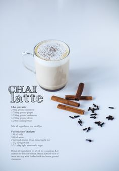 chai latte ( sub the sugar for plain sugar) Yummy Drinks, Healthy Drinks, Yummy Food, Smoothie Drinks, Coffee Recipes, Hot Tea Recipes, Drinking Tea, Food And Drink, Cooking Recipes