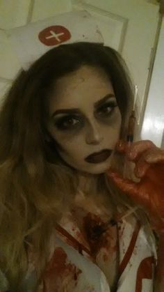 Zombie nurse makeup #mehron #Halloween #bennye #blood   Makeup by Cherece