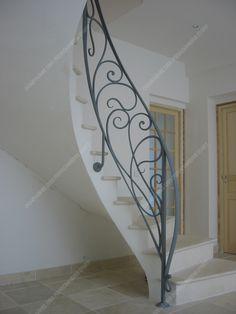 Rampes d'escalier en fer forgé Style Art nouveau : Modèle Liane