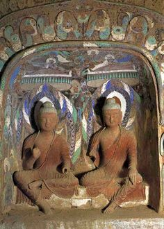 """In the chapter """"The Emergence of the Treasure Tower"""" the tower of Many Treasures Buddha emerges from the earth. The Buddha then opens the door to the tower . History Of Buddhism, Ajanta Caves, Lotus Sutra, Mahayana Buddhism, Dunhuang, Lotus Art, Taoism, Buddhist Art, Sacred Art"""