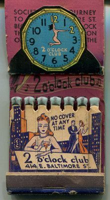 2 O'CLOCK CLUB Girlie Feature Pop Up Easel Matchbook BALTIMORE BLOCK Burlesque