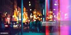 Stock Photo : Street lights of urban city street at night