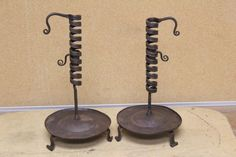 """PAIR OF EARLY 18TH C WROUGHT IRON SPIRAL CANDLESTICKS H 12 1/2"""""""