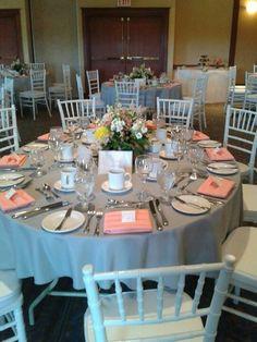Our peach and grey wedding decor