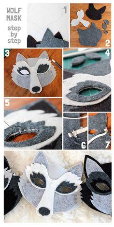 Carnaval last minute DIY wolf mask tutorial, wool felt wolf mask, oh my handmade Disfarces Halloween, Maske Halloween, Halloween Costumes, Halloween Cosplay, Wolf Maske, Wolf Craft, Felt Mask, Animal Masks, Diy Mask