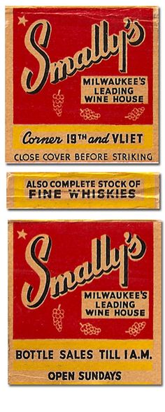 Smally's Bottle Sales #Matchcover To order your Business' own branded #matchbooks or #matchboxes GoTo: www.Getmatches.com or CALL 800.605.7331 Today!