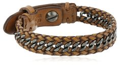 """Amazon.com: Fossil """"Sun Up Sun Down"""" Men's Leather and Chain Bracelet: Jewelry"""