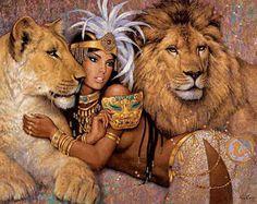 retratos-femeninos-con-animales-salvajes-pintados-al-oleo