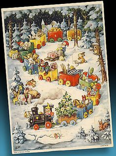 Alt (vor 1970), Adventskalender, Weihnachten & Neujahr ... German Christmas, Modern Christmas, Vintage Christmas Cards, Christmas Pictures, Vintage Cards, Holiday Cards, Vintage Fairies, Christmas Scenes, Christmas Illustration