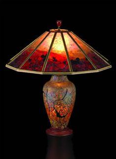 """Red Vines Lindsay Art Glass lamp  Sue Johnson: mica lamp shade  Overall height 22 inches, Width 21""""    $970.00"""