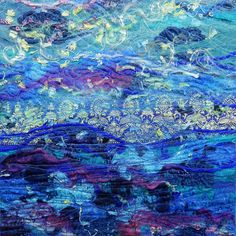 "Created with fabrics, fibres, threads, free motion machine stitching and water soluble stabilizer. 8"" x 8"" ""Sea Change"""