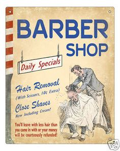 HAIR BARBER SHOP SIGN VINTAGE ART RETRO PLAQUE CLASSIC