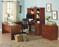 For the home office one day maybe :-)  Realspace Broadstreet Contoured U Shaped Desk With 92 L Connecting BridgeShell Maple by Office Depot & OfficeMax