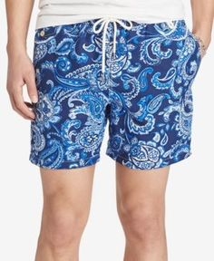Polo Ralph Lauren Men's Paisley Traveler Swim Trunks - Navy XXL