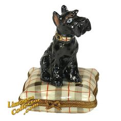 Black Schnauzer Dog on Designer Plaid Cushion Limoges Box by Beauchamp | LimogesCollector.com