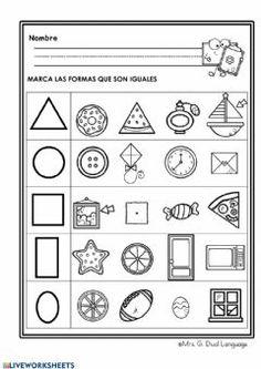 Shapes Worksheet Kindergarten, Shapes Worksheets, Free Kindergarten Worksheets, Preschool Learning Activities, Free Preschool, Math For Kids, Toddler Activity Board, Emotions Activities, Abc Centers
