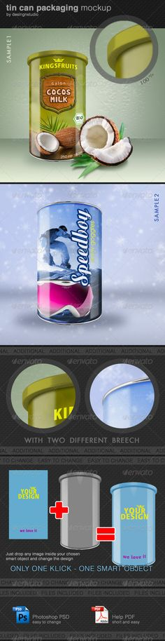 Tin Can Packaging MockUp — Photoshop PSD #plastic foil #foil pouch • Available here → https://graphicriver.net/item/tin-can-packaging-mockup/1965046?ref=pxcr